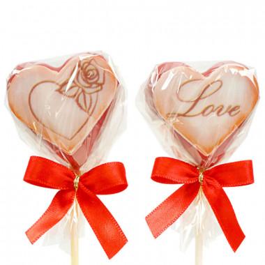 Cake-Pops Saint Valentin rouges en forme de coeur (12 pièces)