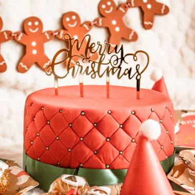 "Gâteau de Noël Deluxe - inclus Cake Topper ""Merry Christmas"""