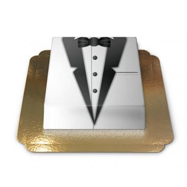 Gâteau Smoking noir et blanc rectangulaire