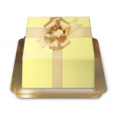 Gâteau-boîte à cadeaux jaune