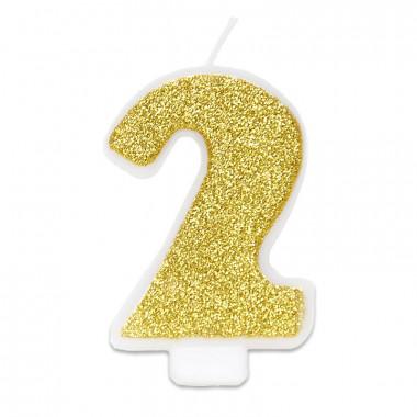 Bougie-chiffre dorée 2 (env. 6 cm)