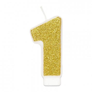 Bougie-chiffre dorée 1 (env. 6 cm)