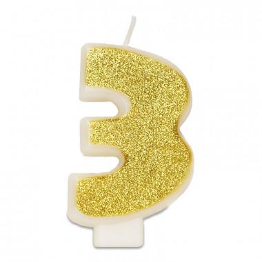 Bougie-chiffre dorée 3 (env. 6 cm)