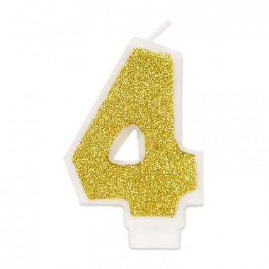 Bougie-chiffre dorée 4 (env. 6 cm)
