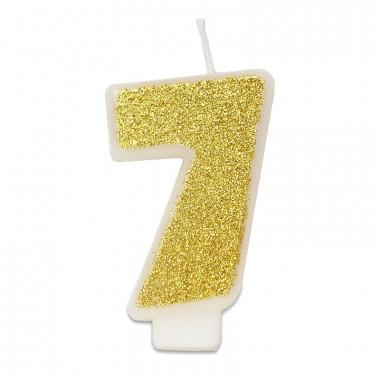 Bougie-chiffre dorée 7 (env. 6 cm)