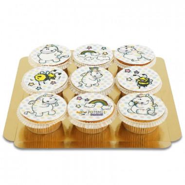 9 Cupcakes Chubby zèbre