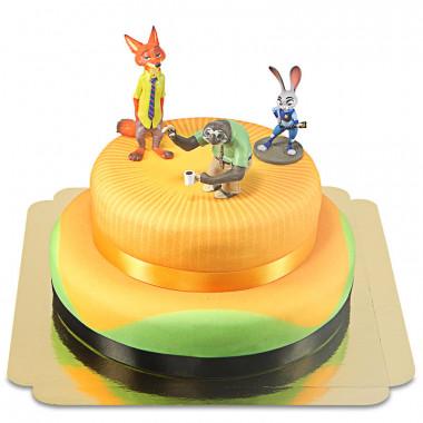 Zootopie - Judy, Nick & Flash sur un gâteau à deux étages