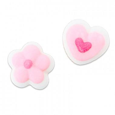 Mini-coeurs et fleurs roses en sucre, env. 1 cm (24 pièces)
