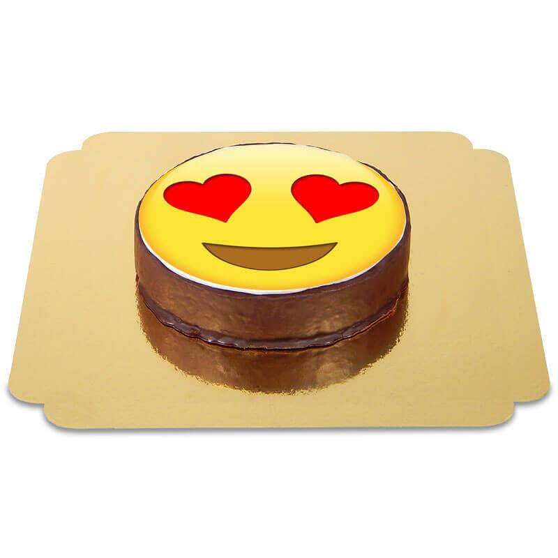 Tort czekoladowy z emotikonką - zakochany