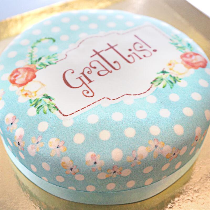 Blüten Torte mit Punkte-Muster