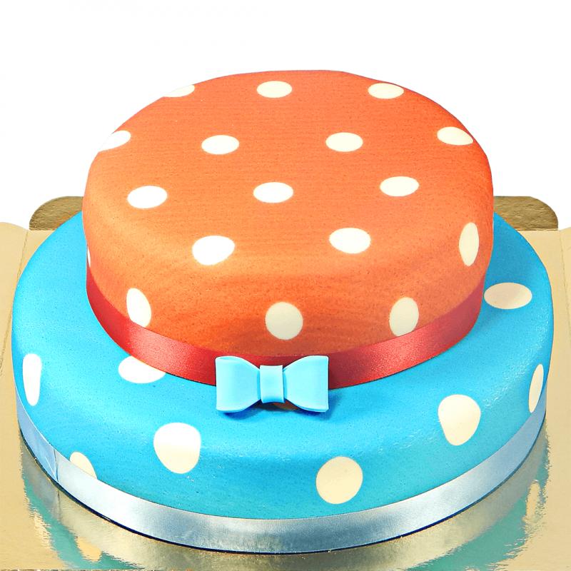 Beispiel mit roter und blauer Torte und Tortendekoration