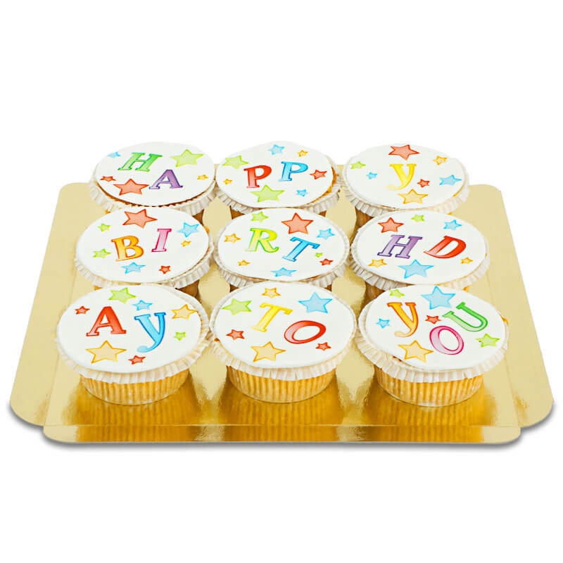 9 bunte Happy Birthday To You Cupcakes