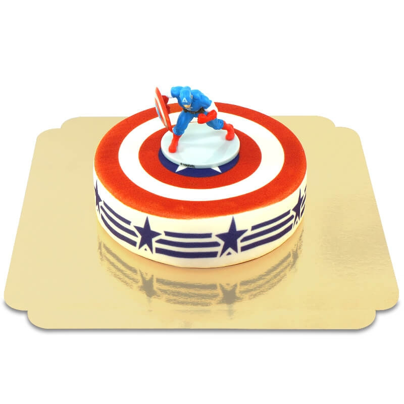 Captain America auf Stars-and-Stripes-Torte