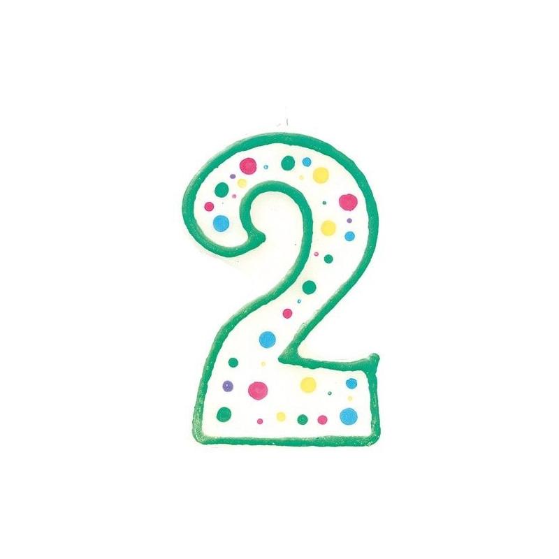 Zielona świeczka z cyfrą 2, ok. 7,5 cm