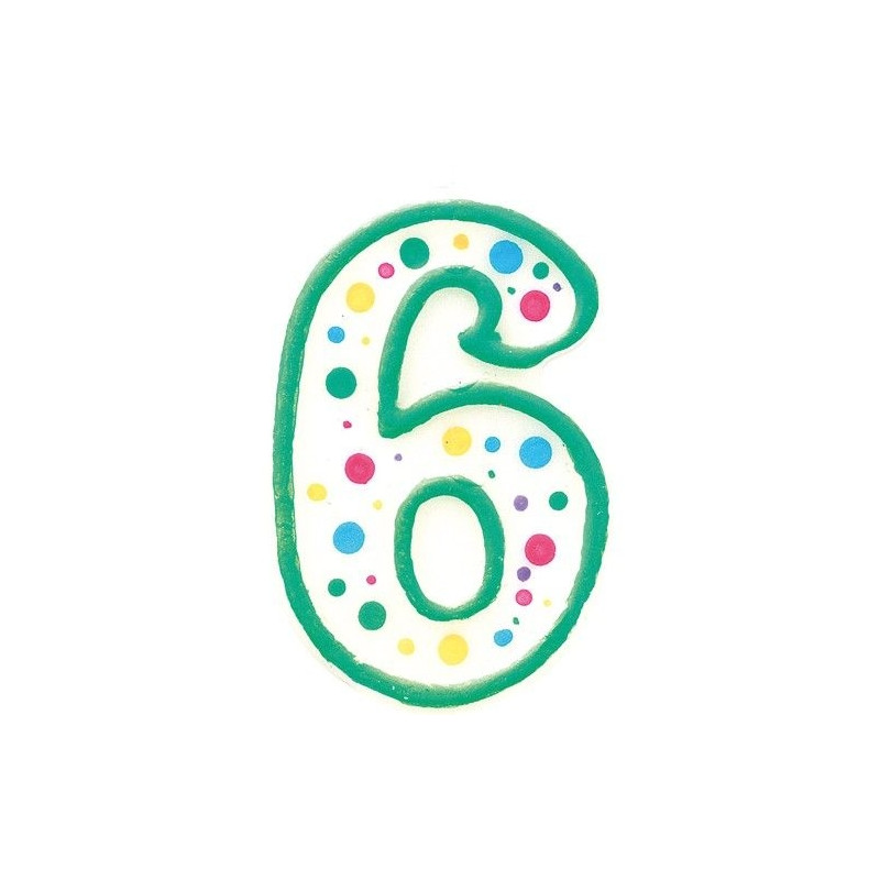 Zielona świeczka z cyfrą 6, ok. 7,5 cm