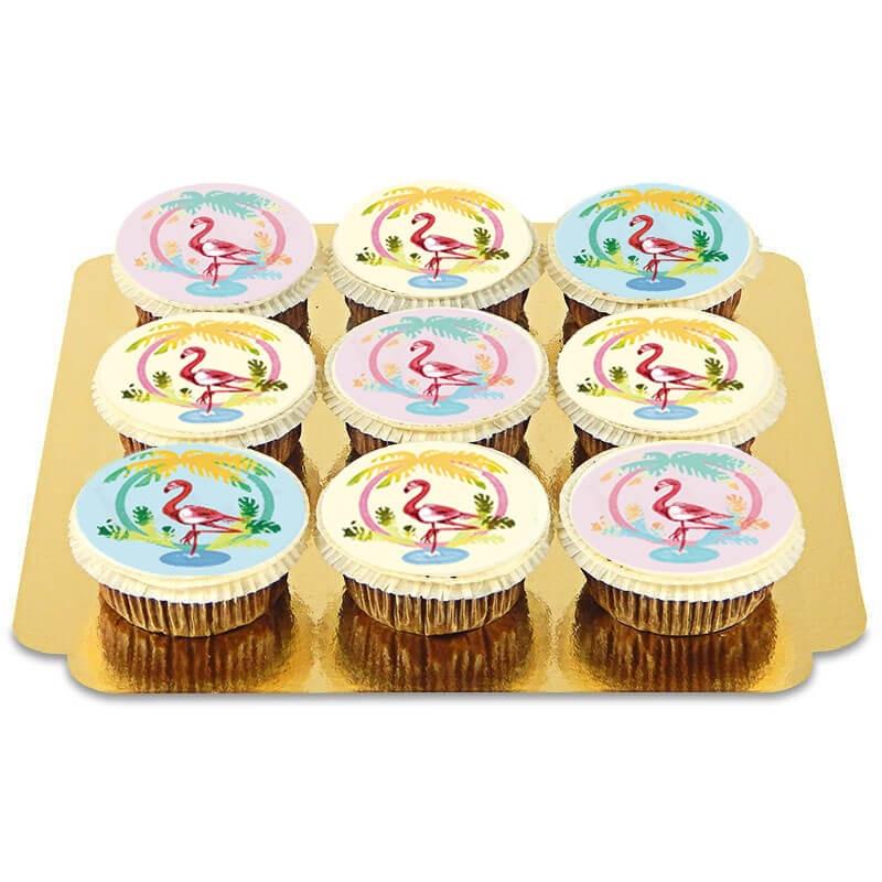 Cupcakes mit Flamingo-Motiven