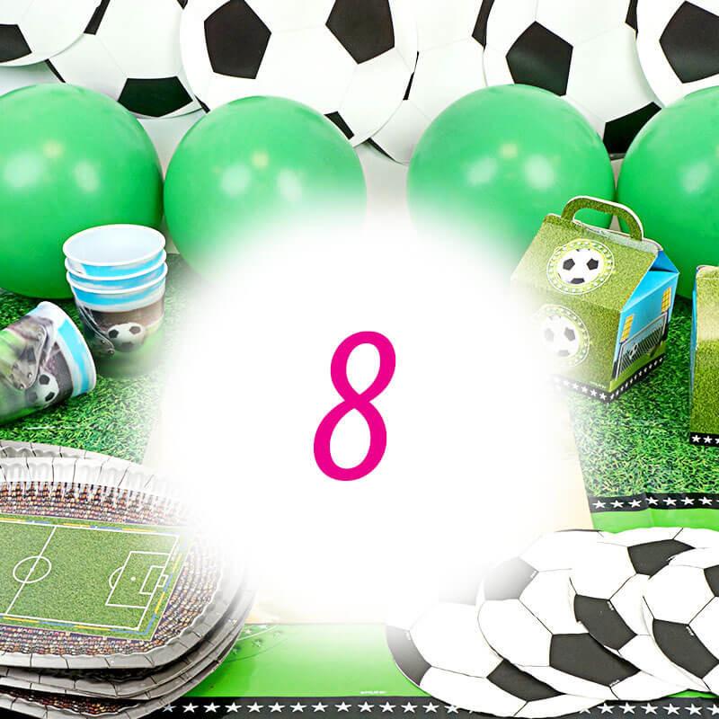 Kit de décoration de football pour 8 personnes (gâteau non inclus)
