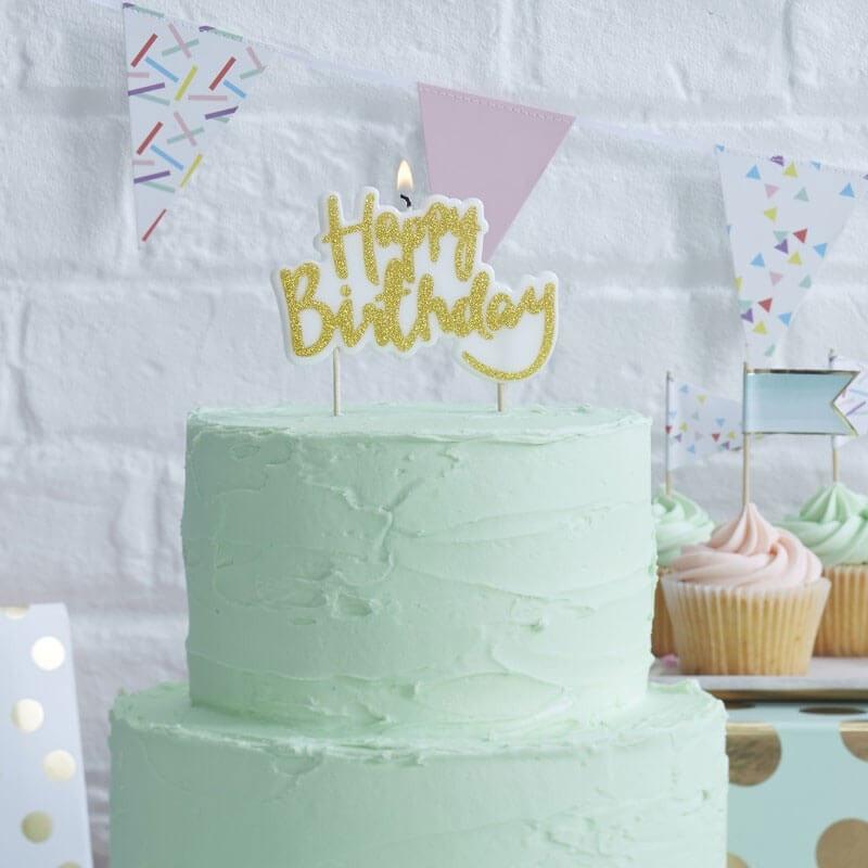 Świeczka tortowa, Happy Birthday złota