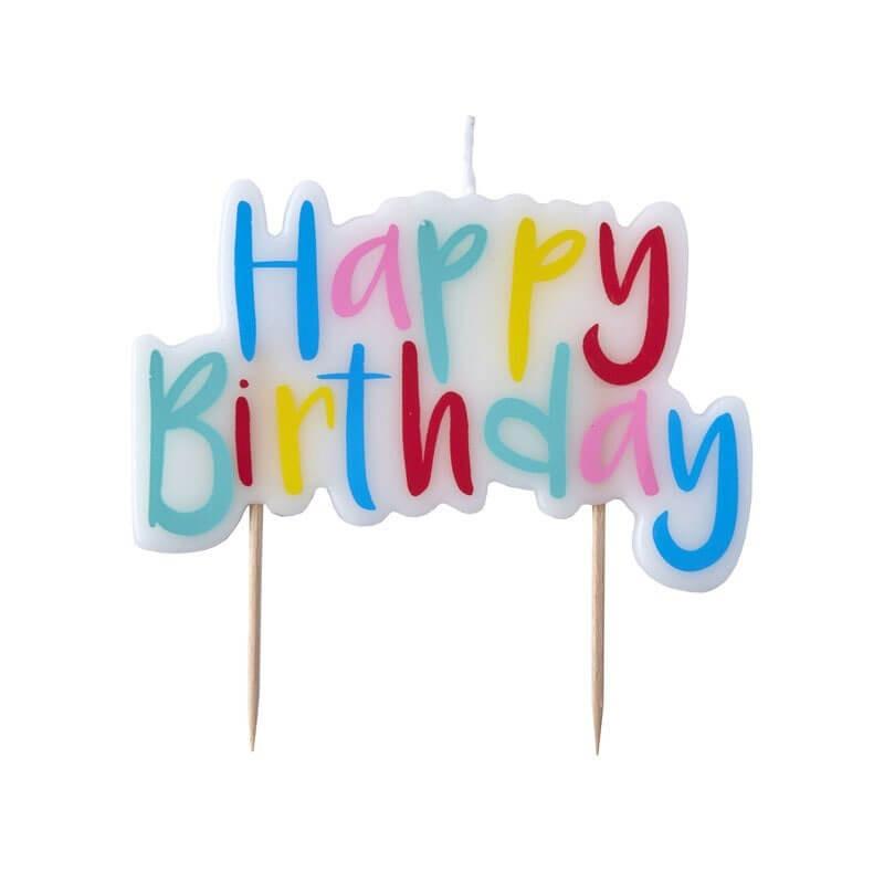 Świeczka tortowa Happy Birthday, kolorowa