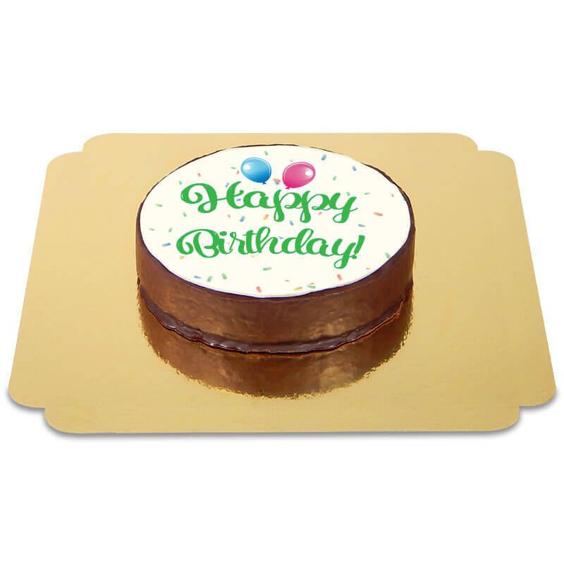 Tort czekoladowy z napisem Happy Birthday - zielony