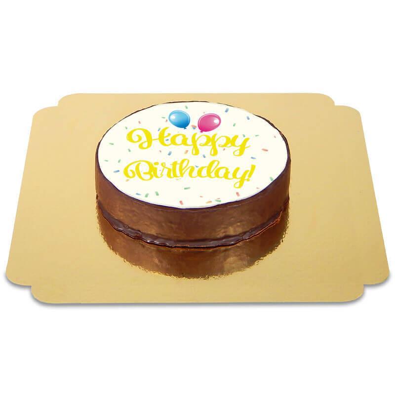 Tort czekoladowy Happy Birthday żółty