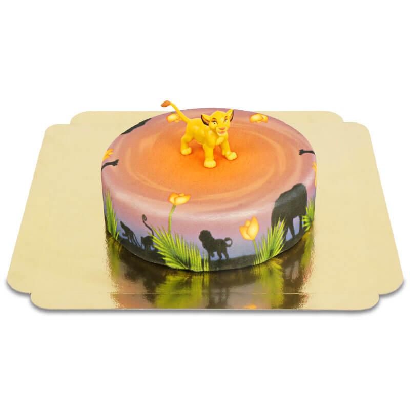 Simba auf runder Savannen-Torte