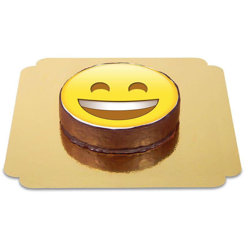 Tort czekoladowy z emotikonką - uśmieszek