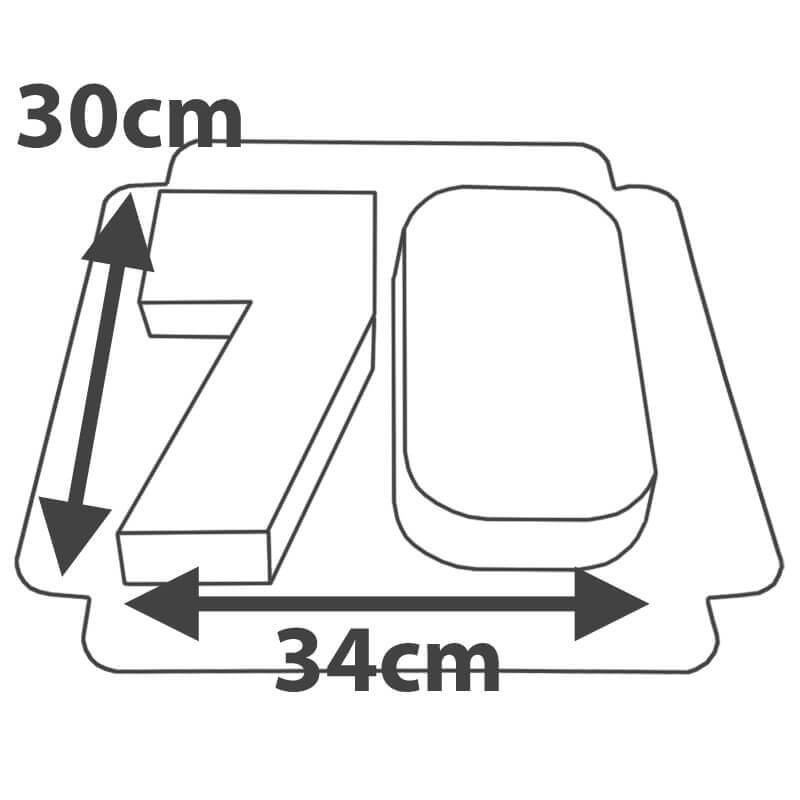 Rozmiary, podwójny tort w kształcie cyfry