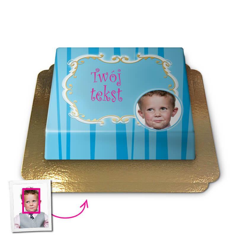 Tort  Face-Cake - Pozdrowienia, niebieski