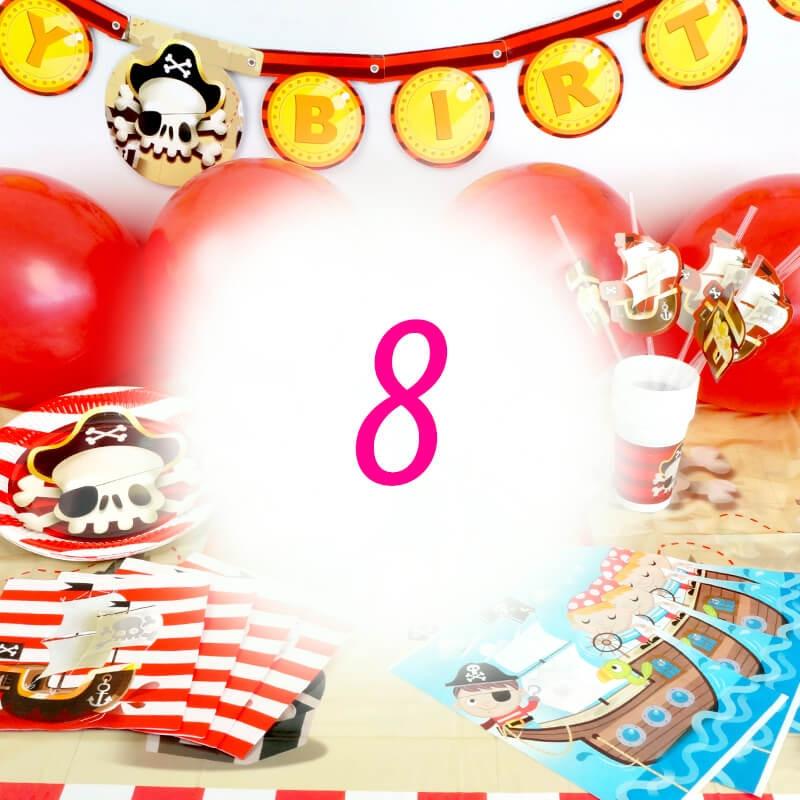 Piraten-Partyset für 8 Personen - ohne Torte