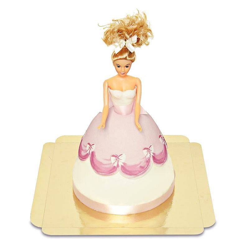 Tort z lalką w różowej sukience