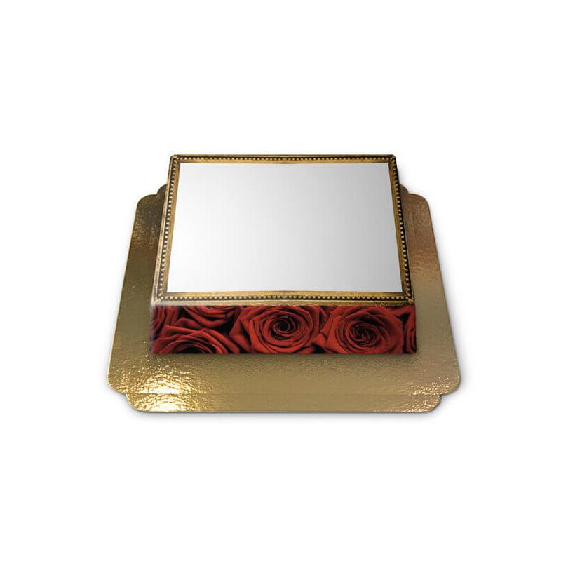 Tort ze zdjęciem - ramka w róże