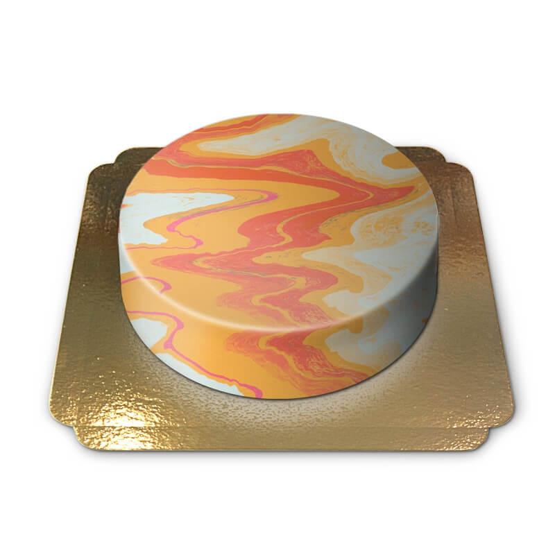 Gâteau effet marbre tons chauds