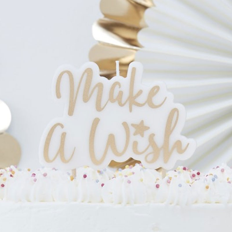 Make a wish Tortenkerze gold