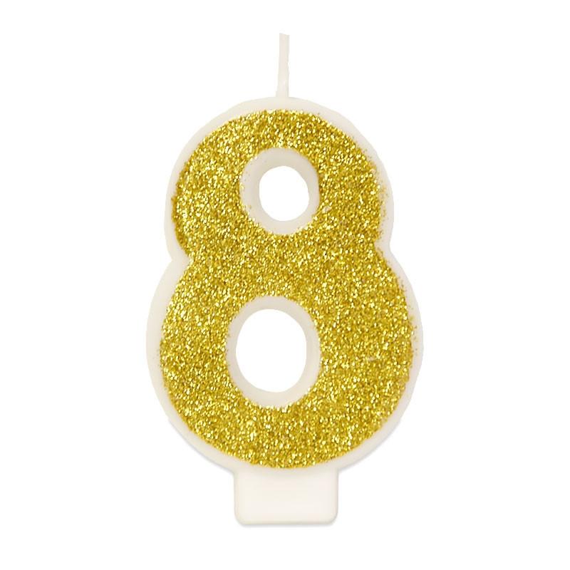 Złota świeczka z cyfrą 8