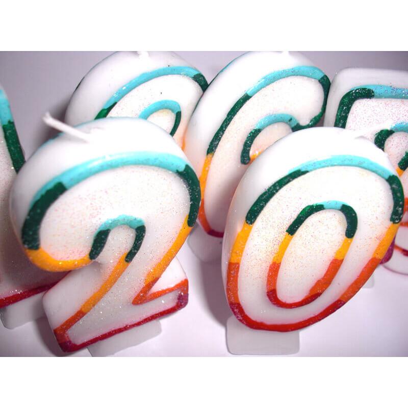 Bougies-chiffre multicolores 1 (env. 7,5 cm)